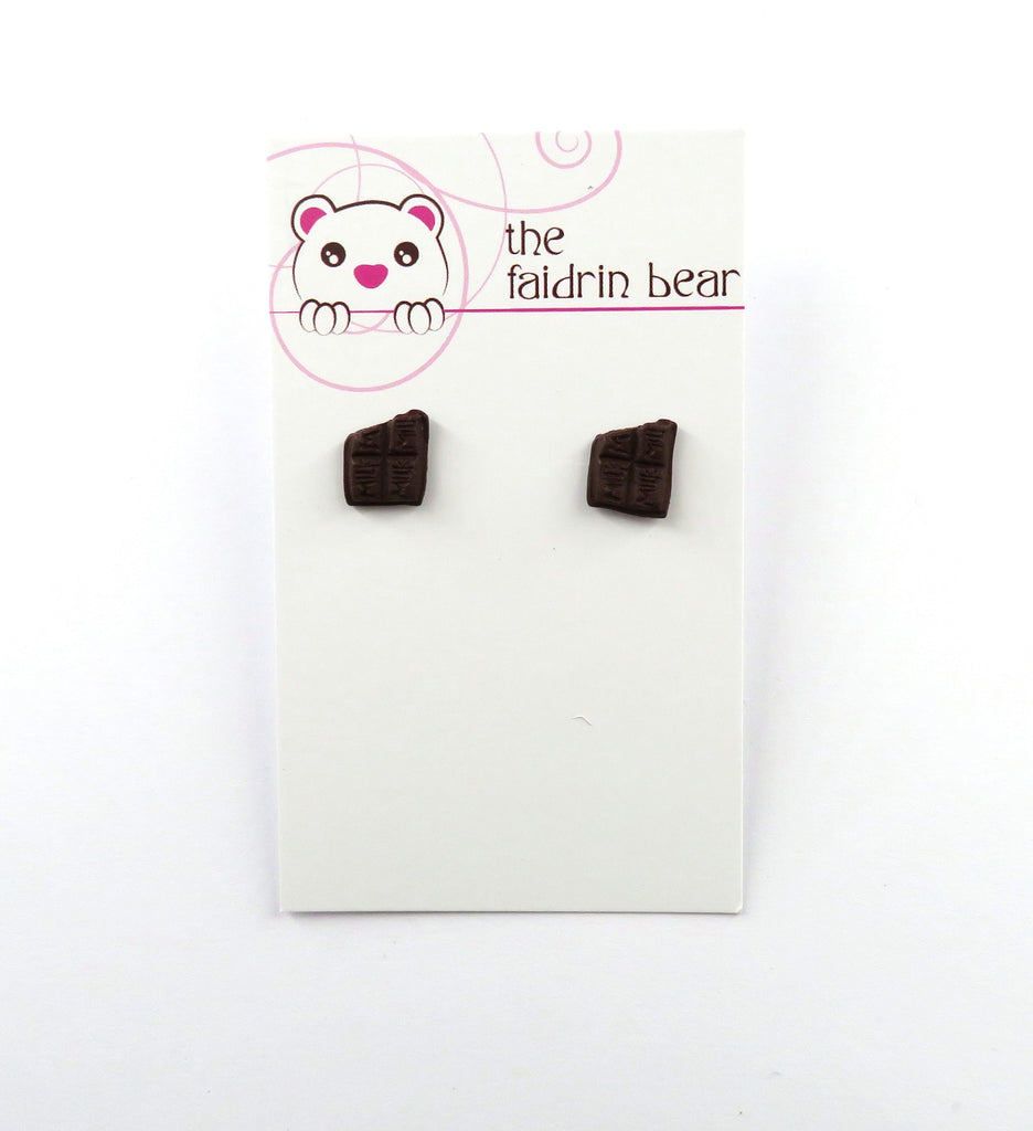 Chocolate Bar Stud Earrings