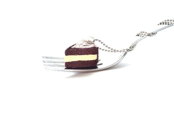 Chocolate and Vanilla Cake Slice Necklace