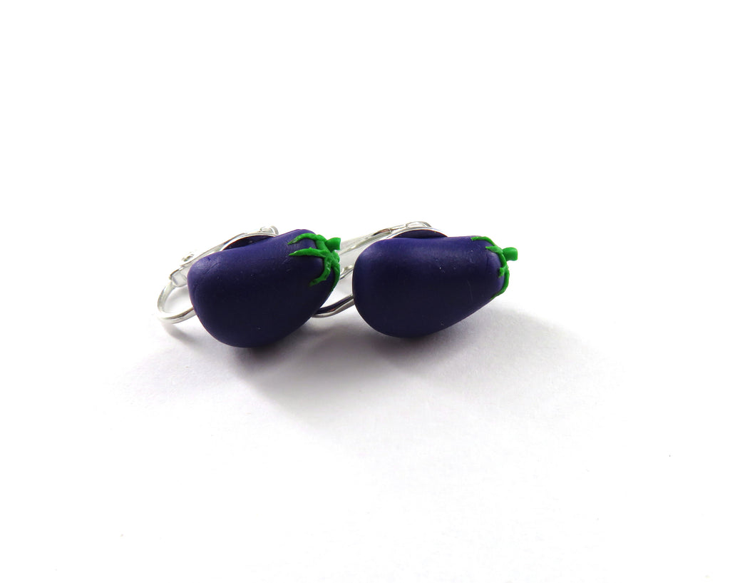 Eggplant Clip On Earrings