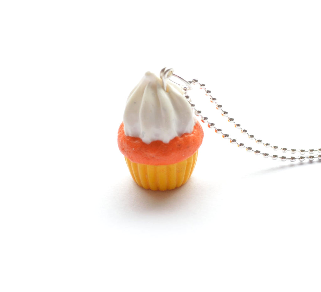 Candy Corn Cupcake Necklace, Halloween Foodie Necklace