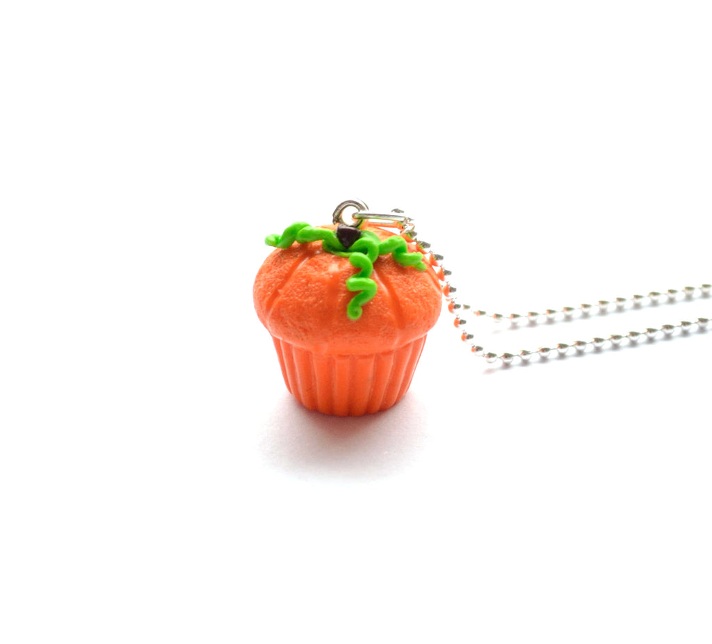 Spicy Pumpkin Cupcake Necklace, Halloween Foodie Necklace