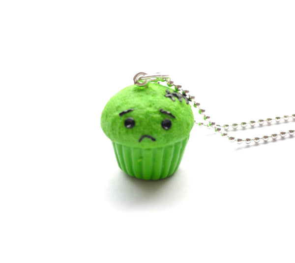 Sad Little Zombie Cupcake Necklace, Halloween Foodie Necklace