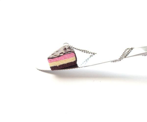 Neapolitan Cake Slice Necklace