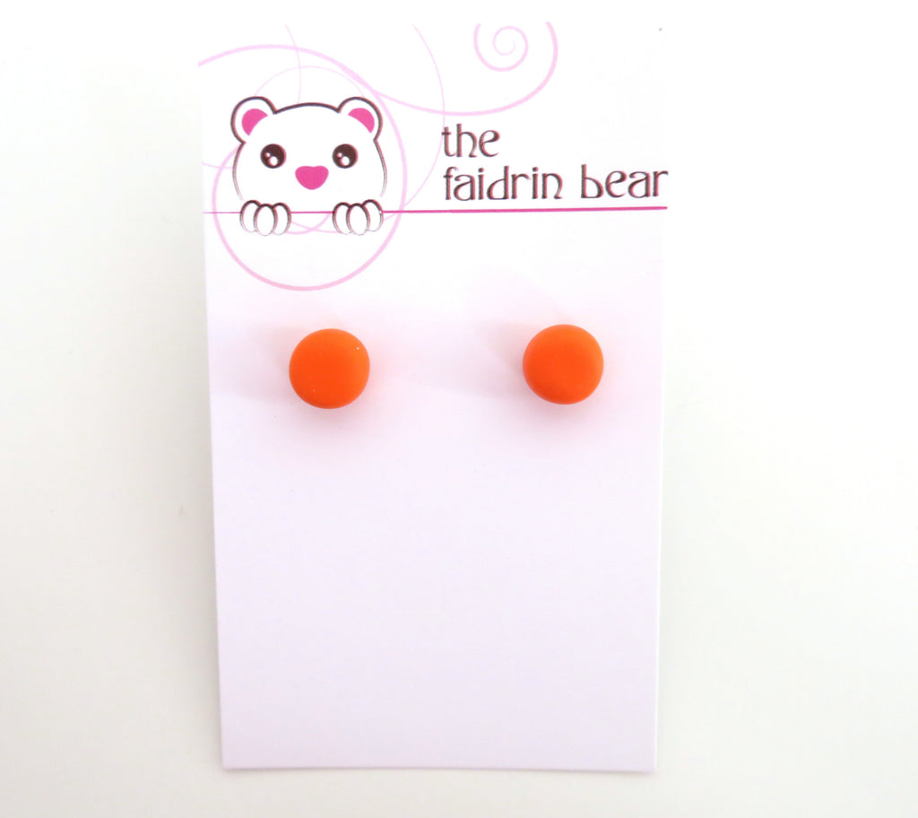 Orange Studs || Round Earrings