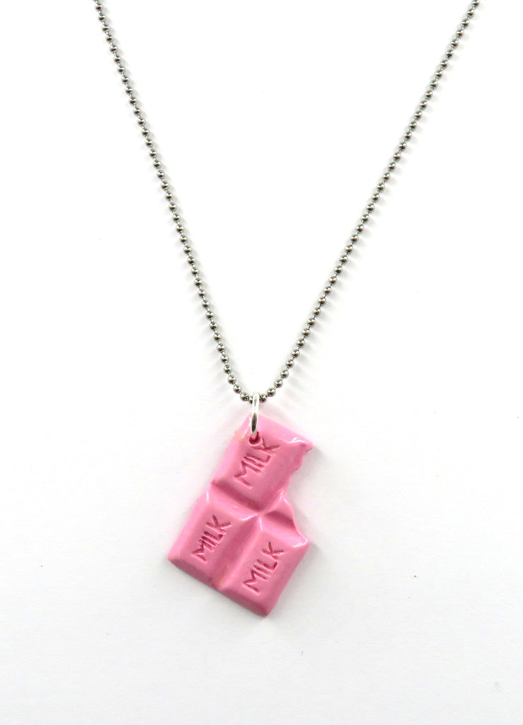 Pink Chocolate Bar Necklace