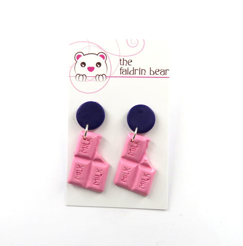 Pink Chocolate Bar Dangle Earrings - Purple Edition