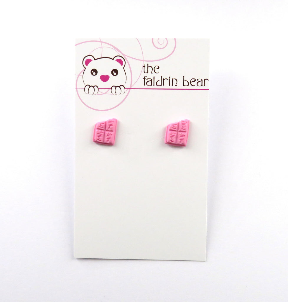 Pink Chocolate Bar Stud Earrings