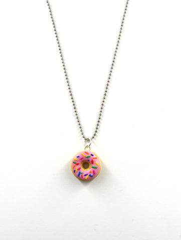 Strawberry Donut with sprinkles Necklace