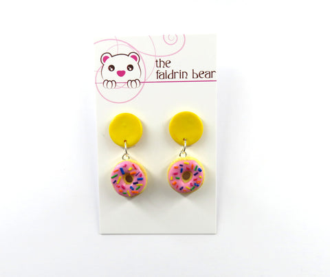 Pink Donut Dangles - Yellow Edition