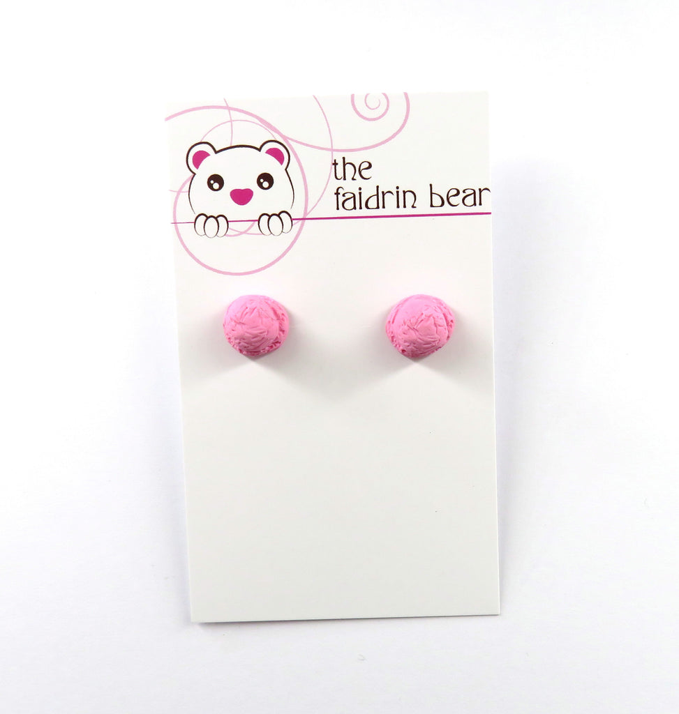Strawberry Pink Ice Cream Scoop Stud Earrings