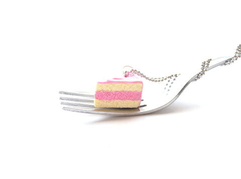 Strawberry Pink Cake Slice Necklace