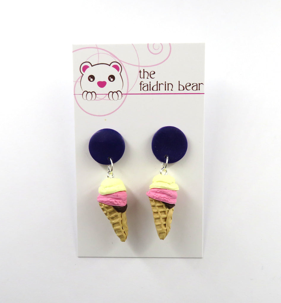 Vanilla Ice Cream Cone Dangle Earrings - Purple Edition