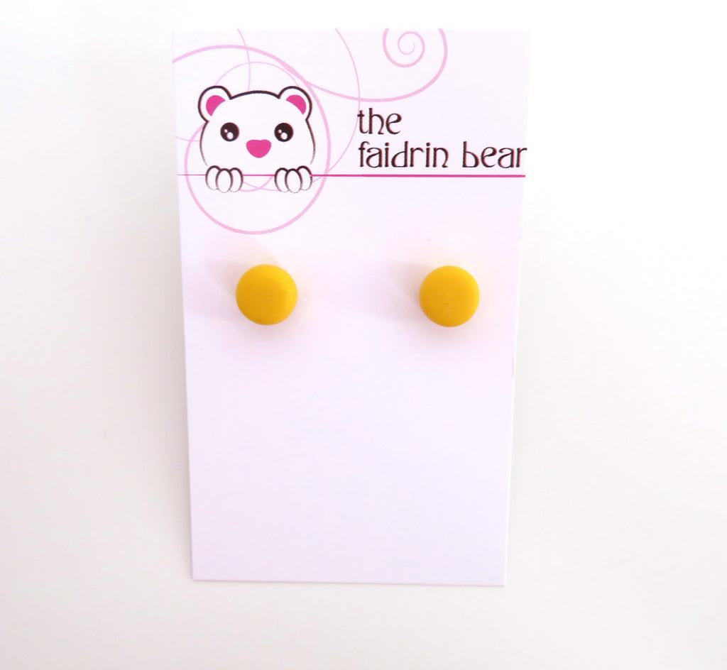 Yellow Studs || Round Earrings