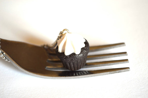 Dark Chocolate Cupcake With Marshmellow Frosting necklace
