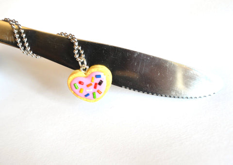 Sugar Cookie Necklace, Heart with Sprinkles and Pink Icing Charm