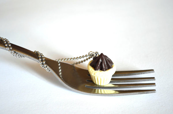 Vanilla Cupcake with Chocolate Frosting Necklace