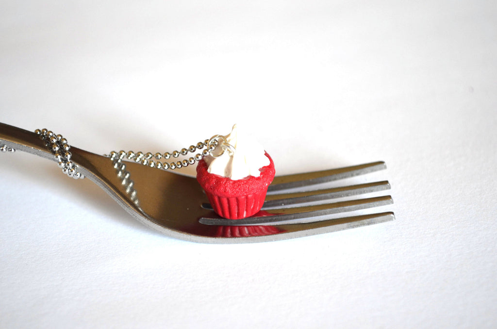 Red Velvet Cupcake With Vanilla Frosting necklace