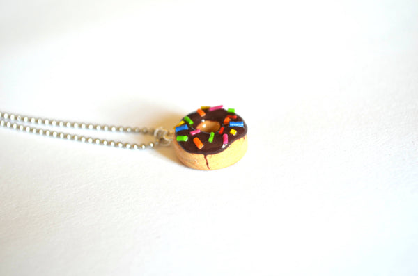 Chocolate Donut with sprinkles Necklace