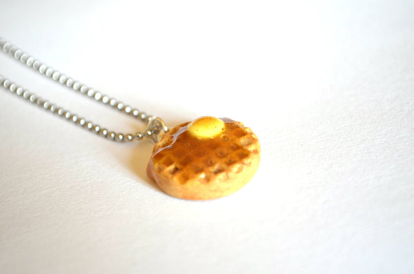 Waffles Necklace, Waffles with maple syrop and butter