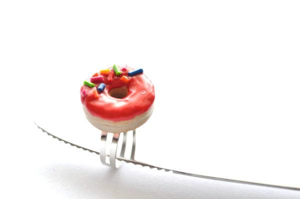 Cherry donut with sprinkles Ring