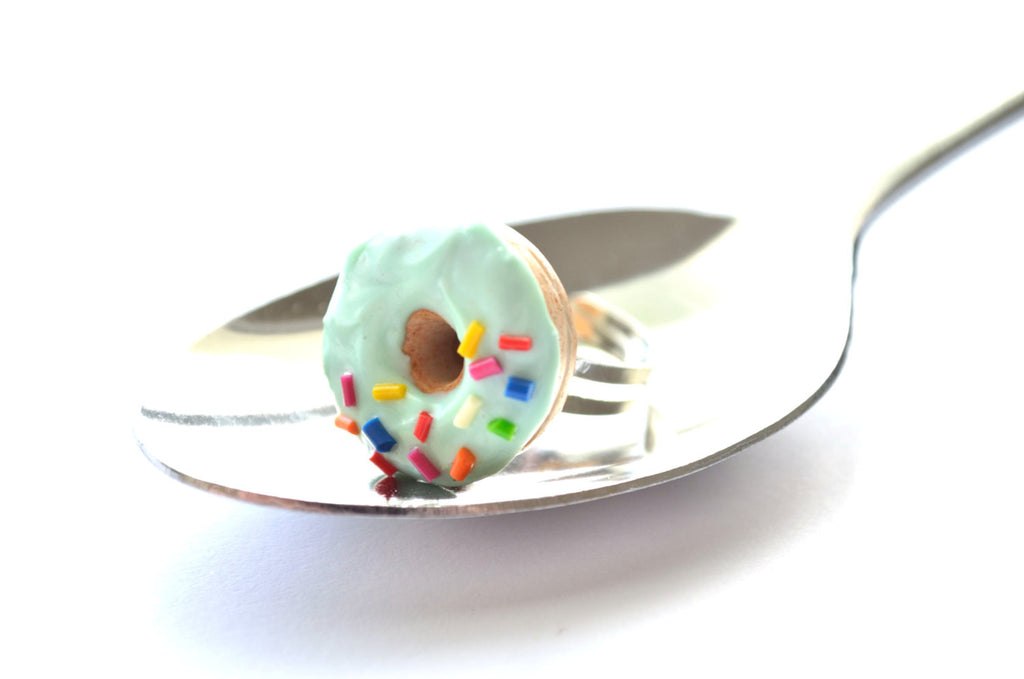 Mint donut with sprinkles Ring
