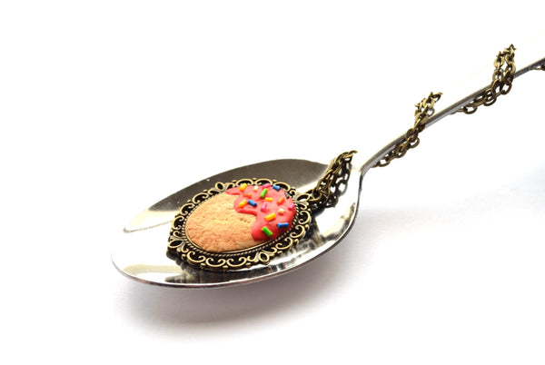 Biscuit with Cherry Red Icing and Sprinkles Pendant