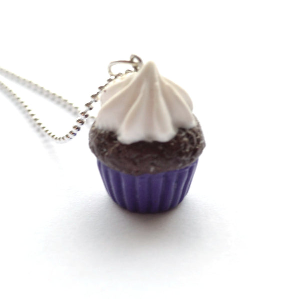 Purple-Chocolate Cupcake Necklace