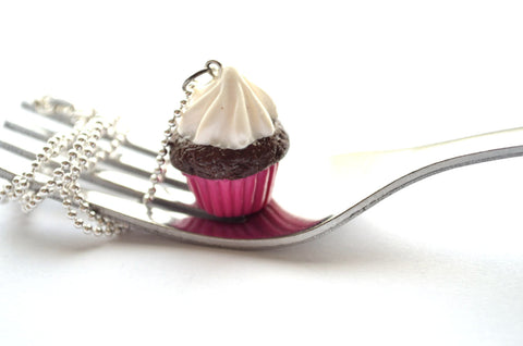 Pink-Chocolate Cupcake Necklace