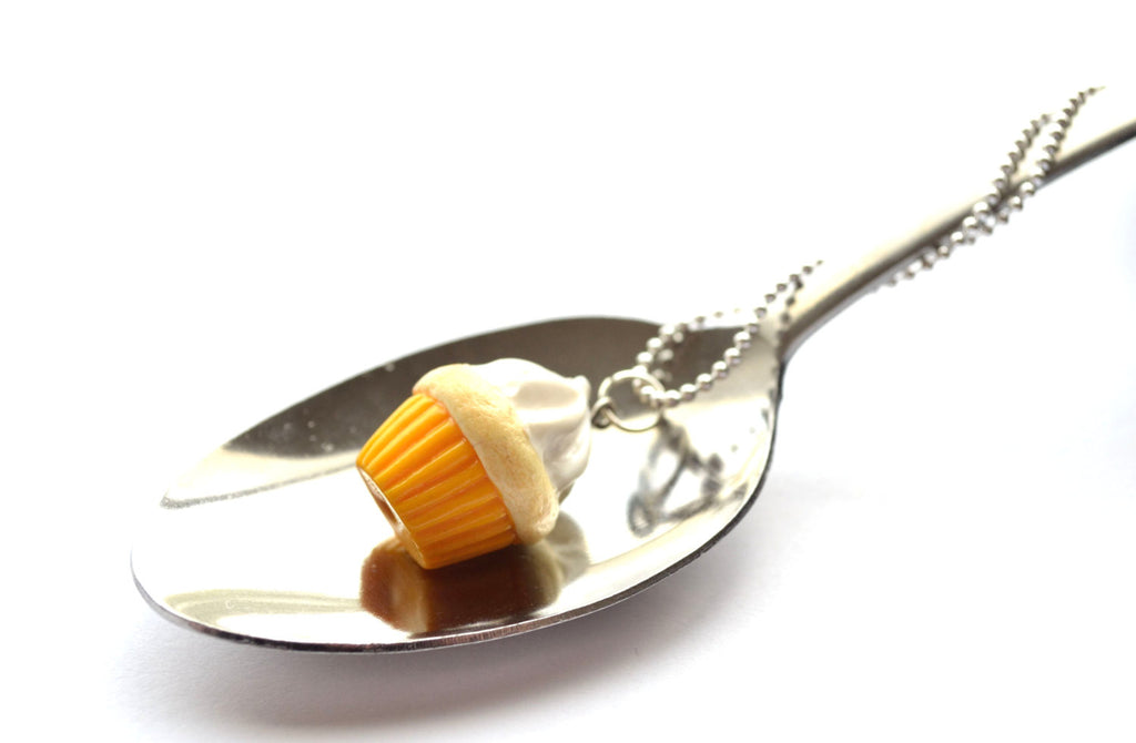 Yellow-Vanilla Cupcake Necklace