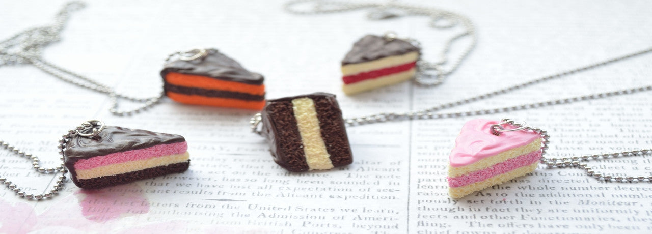 A slice of cake as a necklace