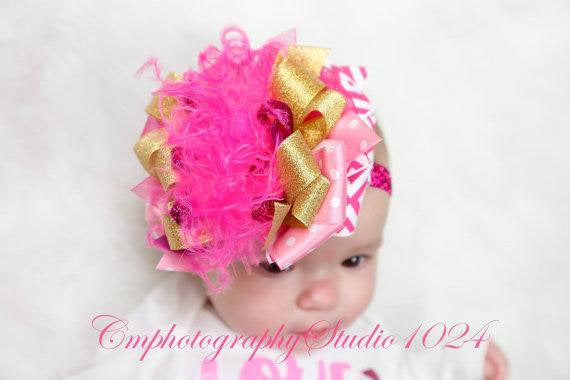 Pinks & Gold Over The Top Bow Headband