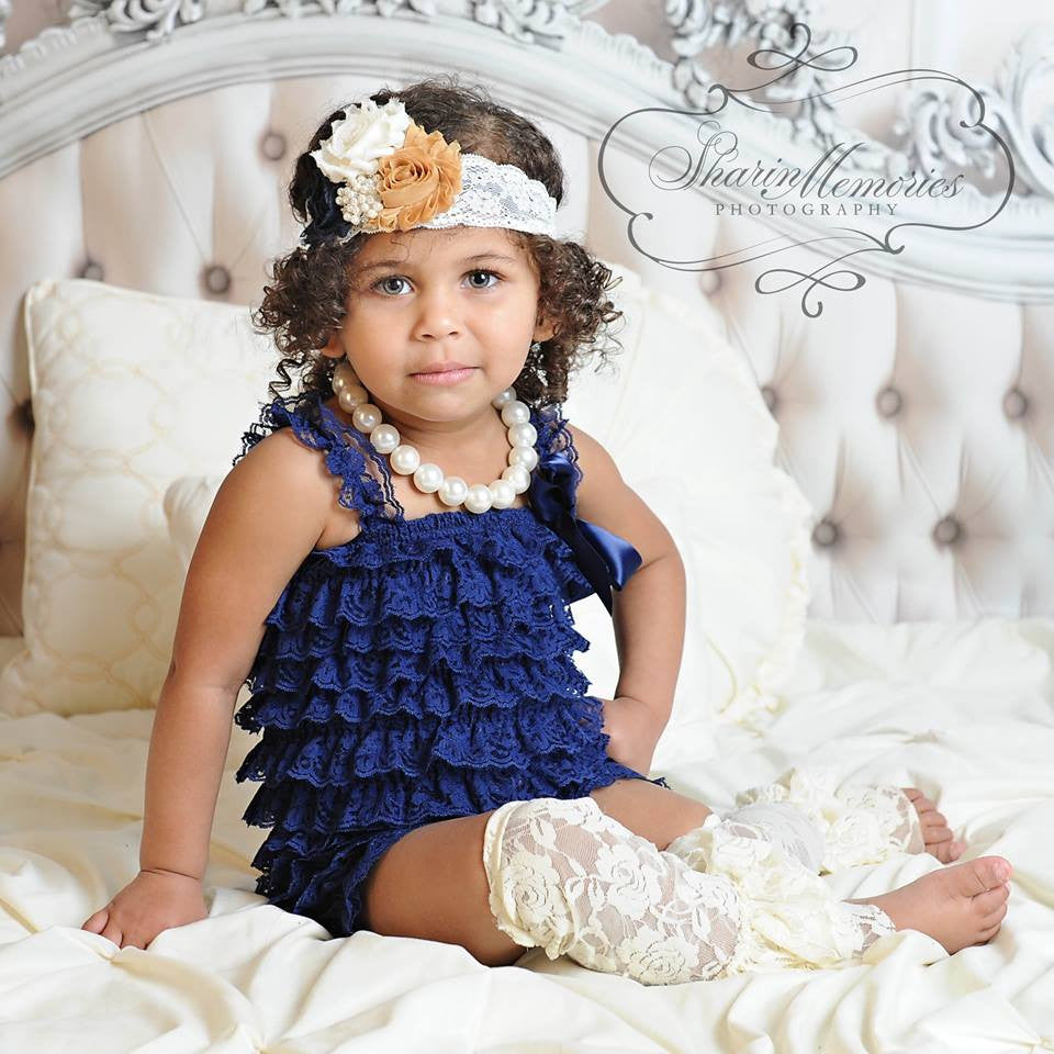 Navy Lace Romper with Navy, Mustard & Ivory Headband
