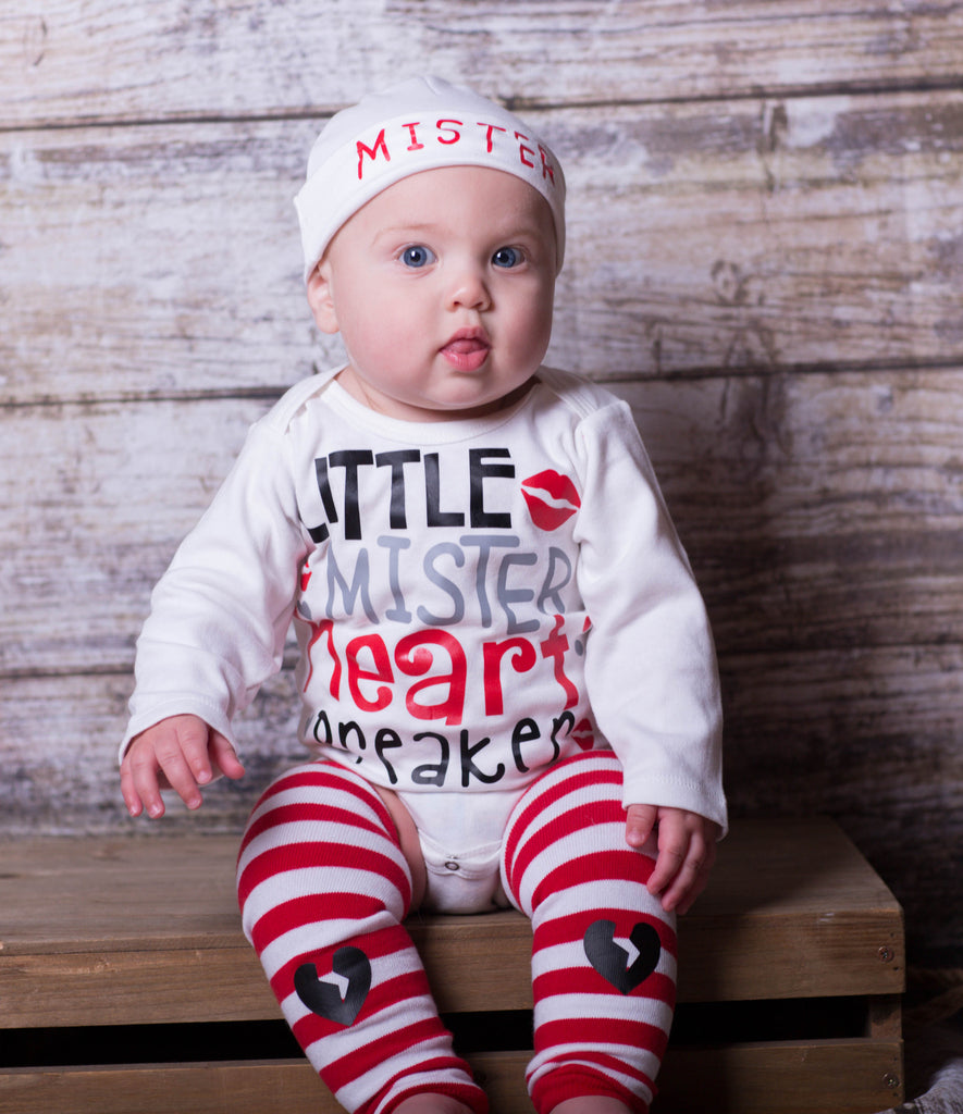 Little Mister Heart Breaker Valentines Onesie