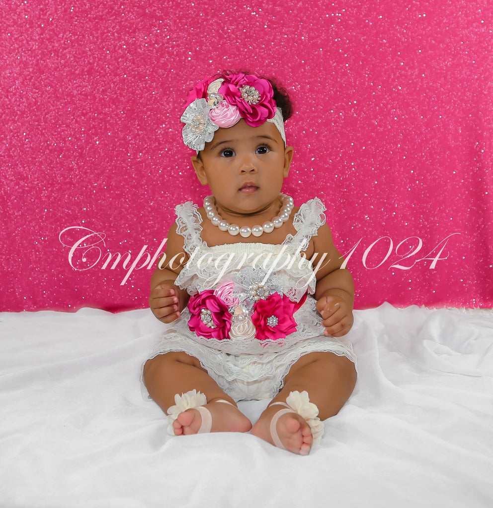 Ivory, Fuchsia, Pink & Silver Lace Romper Set
