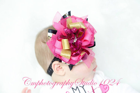 Hot Pinks, Gold & Black Over The Top Bow Headband