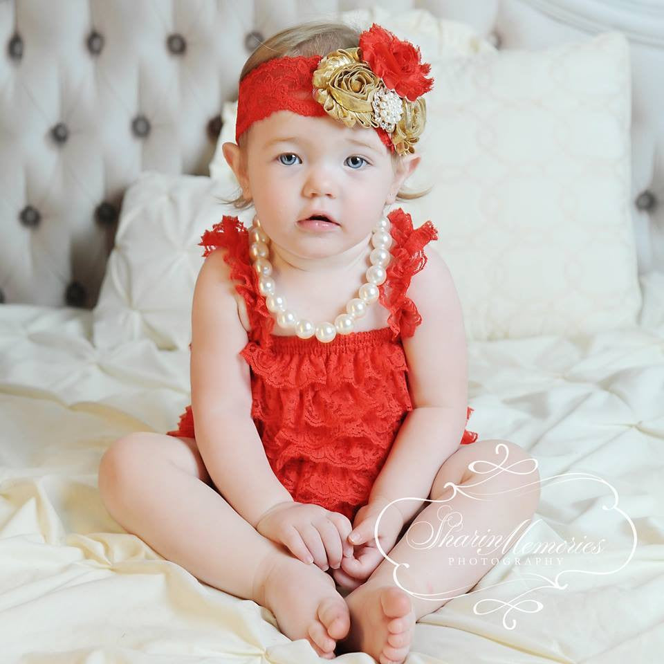 Red Lace Romper with Red & Metallic Gold Headband