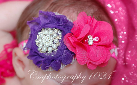Shocking Pink & Purple Headband