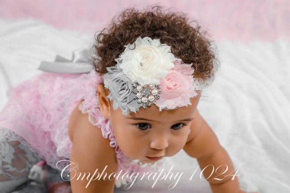 Pink, Gray, Ivory Three Flower Shabby Headband