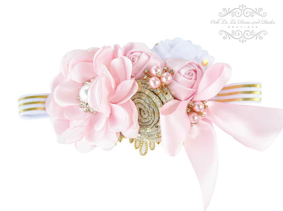 Lt Pink & Gold Metallic Vintage Headband