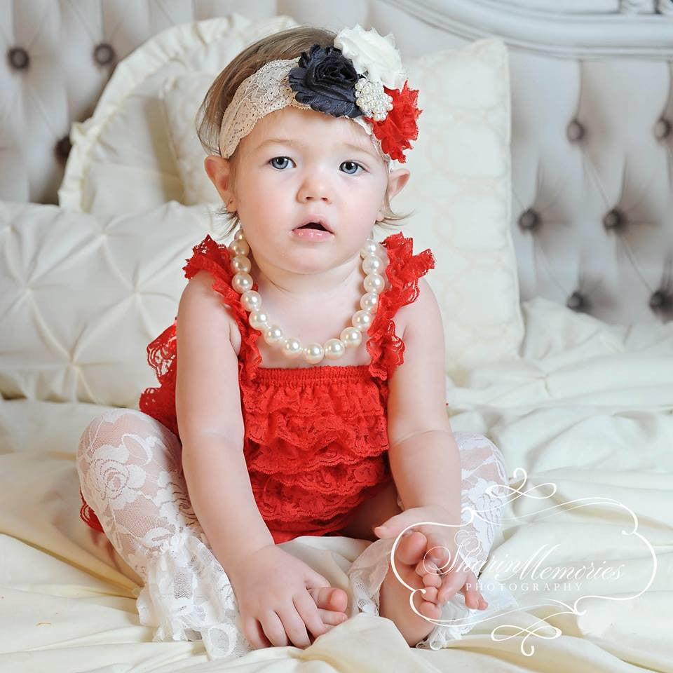 Red Lace Romper with Red, Charcoal & Ivory Headband