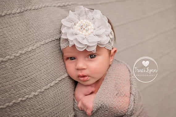 Gray Lace Flower Headband