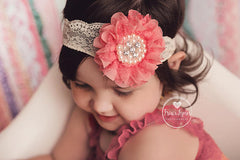 Coral Lace Flower Headband