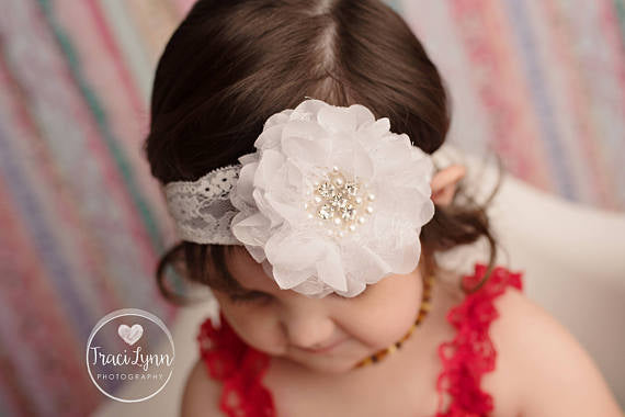 White Lace Flower Headband
