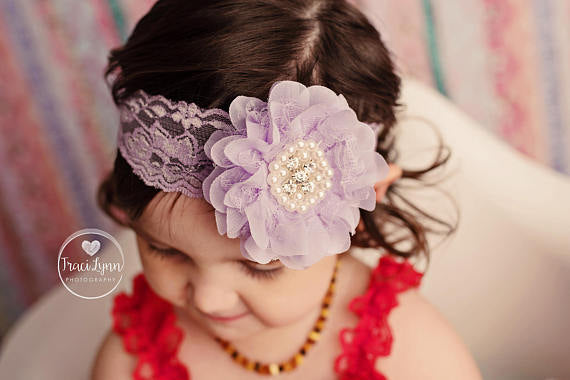 Lavender Lace Flower Headband