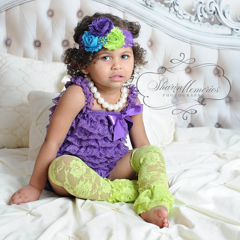 Purple Lace Romper with Shabby Chic Headband