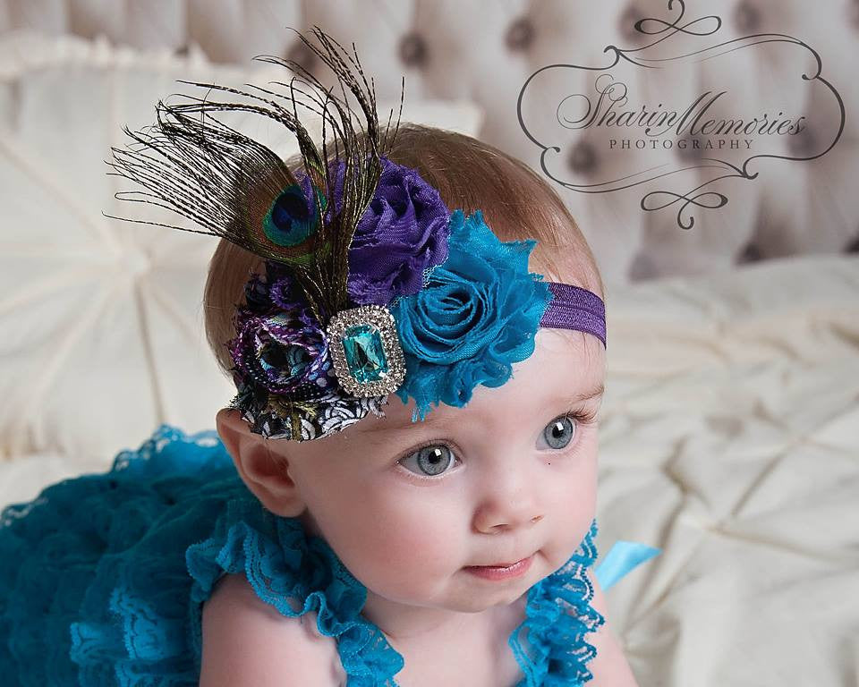 Peacock Shabby Chic Headband