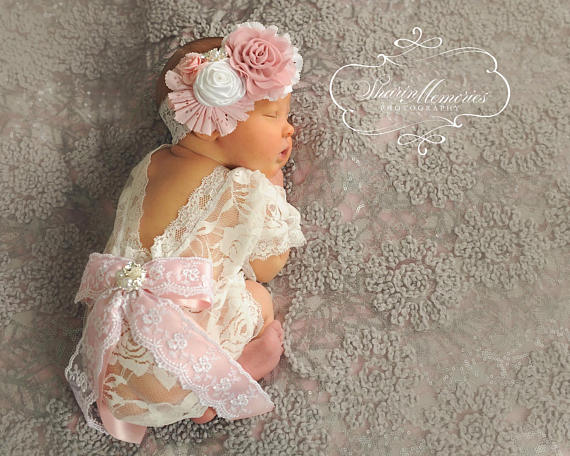 White & Light Pink Baby Romper &  Headband