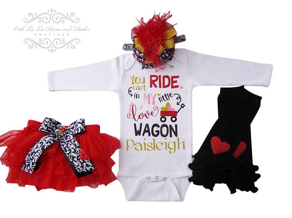 You Can't Ride In My Little Red Love Wagon Onesie/T-Shirt Set