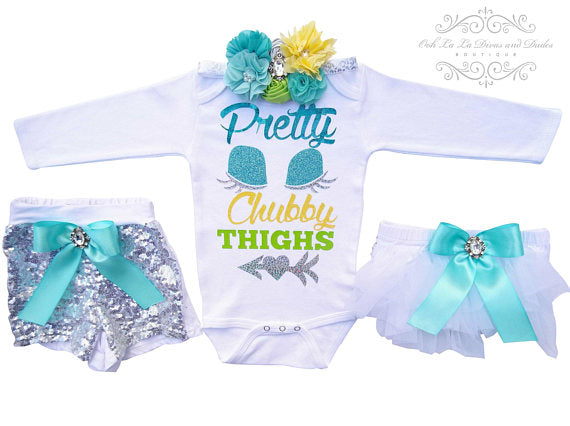 Pretty Eyes Chubby Thighs Onesie or T-Shirt Set