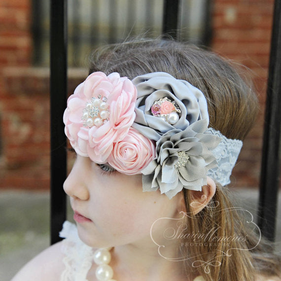 Light Pink & Gray Vintage Headband